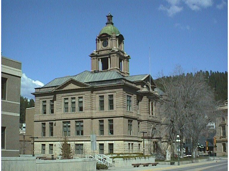 Front view of courthouse